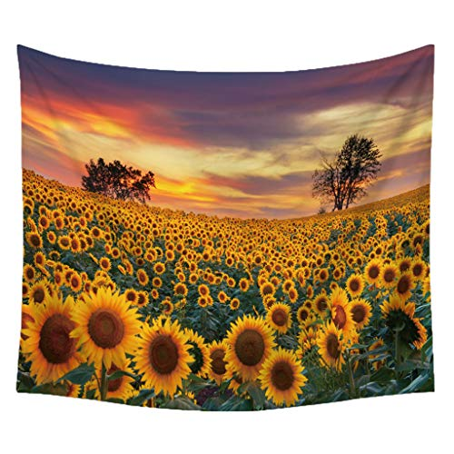 Finebo Sonnenblumen-Wandteppich für Immer Wandbehang warme goldene gelbe und grüne Wand und Inneneinrichtungen für Aufhänger Decke Picknick handgefertigt Teppich (A) -