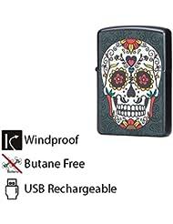 Briquet étanche au vent USB Rechargeable à flamme électrique à l'arc Cigarette Cigar Lighter Skull Design