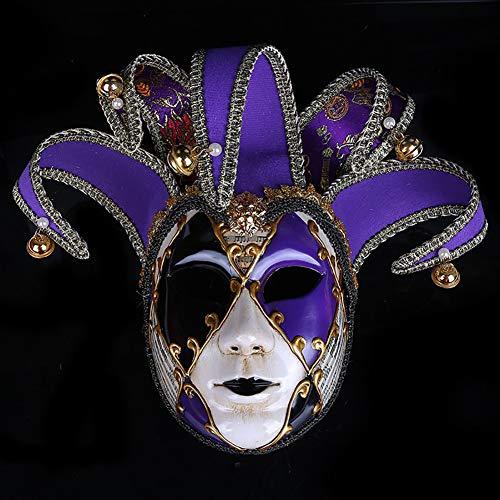 Maskerade Mardi Kostüm Gra - LYMASK Halloween Maske Venetian Full Face Maskerade Maske Partei Karneval Fasching Ball Kostüm Mardi Gras Maske,Purple