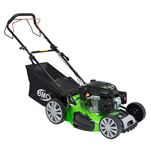 BMC Lawn Racer 18″ 4.5HP 4in1 Self Propelled 4 Stroke Petrol Lawn Mower with Drive Speed Control, Single Lever Height Adjustment, 50L Collection Bag & 10″ Wheels – 2 Years Warranty
