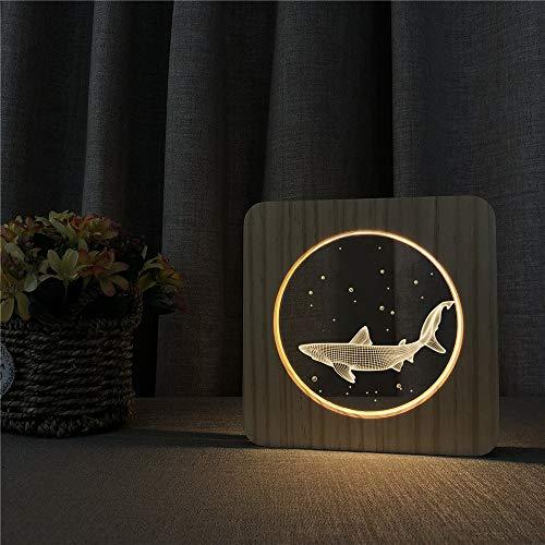 Kleine haifisch Tier acryl Holz nachtlicht tischlampe Schalter Steuerung Gravur Lampe kinderzimmer Dekoration Geschenk -