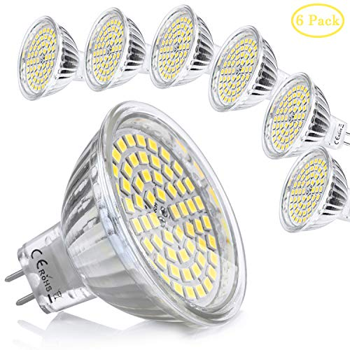 6x MR16 GU5.3 LED 12V Bombilla 5W Blanco Neutro Natural Equivalente a...
