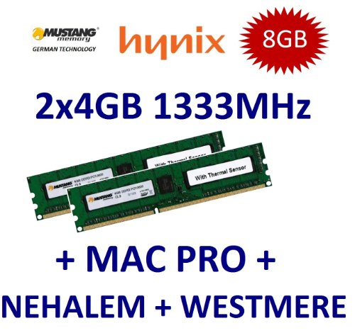 8GB Dual Channel Kit Mustang / Hynix 2 x 4GB DDR3 1333Mhz PC3-10600E 240pin, ECC Unbuffered, 256Mx8 18 Chip, Dual Rank, DIMM, 1.5V, CL9 with Thermal Sensor für Apple MacPro 2009 + 2010 4.1 5.1 und DDR3 Workstations -