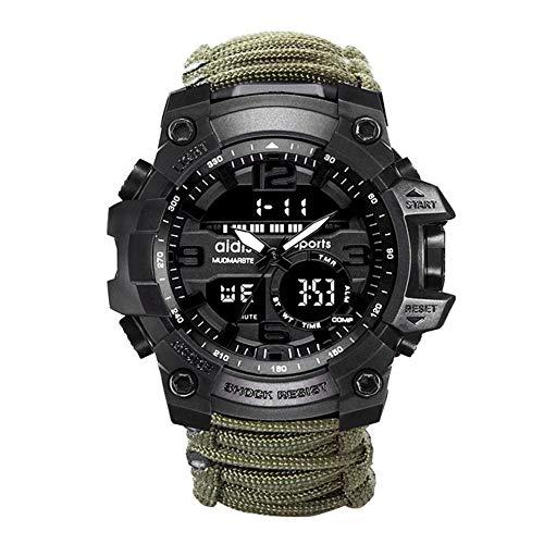 Survival Emergency Survival-Armband, Herren- und Damenuhr mit/Feuerstarter/Kompass und Thermometeruhr, multifunktionale Kalorienzähleruhr für Outdoor-Ausrüstung