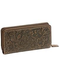 Portefeuille pour femme avec zip ''motif de lys/fleurs'' LEAS, cuir véritable, marron - ''LEAS Vintage-Collection''