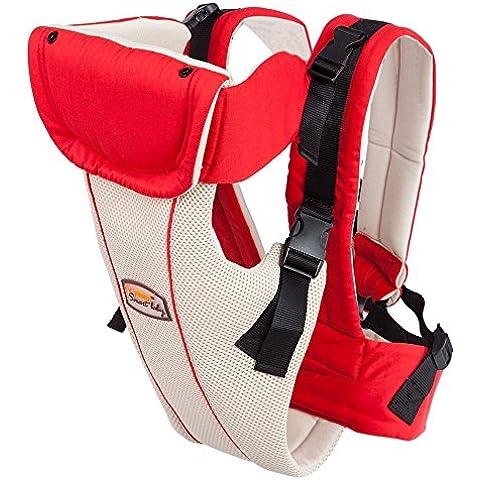 SmartLife Mochila Portabebés Portador de Algodón de Transpirable Agujero de Malla para Bebé Niño Infantil (Rojo)