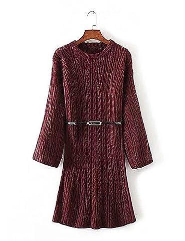 PU&PU Longue Pullover Femme Sortie D¨¦contract¨¦ / Quotidien simple,Couleur Pleine Tartan Col Arrondi Manches Longues Laine Coton Automne Hiver , red , one-size