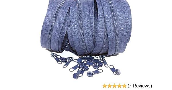 Rei/ßverschl/üsse endlos 3m 15 Zipper Laufschiene 5mm Farbe: hellblau