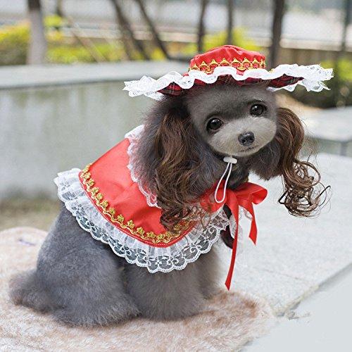 Für Hunde Kostüm Princess - 2016 heißer Verkauf niedlichen kleinen Hund Kleidung Hund Cape mit Hut Set Urlaub Hund Kleidung Vintage Royal Princess Hund Kostüm Kostenloser Versand, Rot, S
