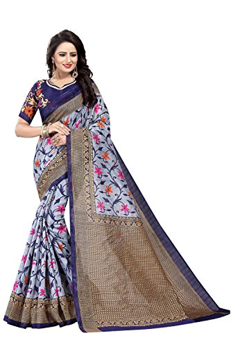 IndoPrimo Cotton Silk Saree with Blouse Piece (Beautiful Saree 12_Grey-Navy_Free Size)