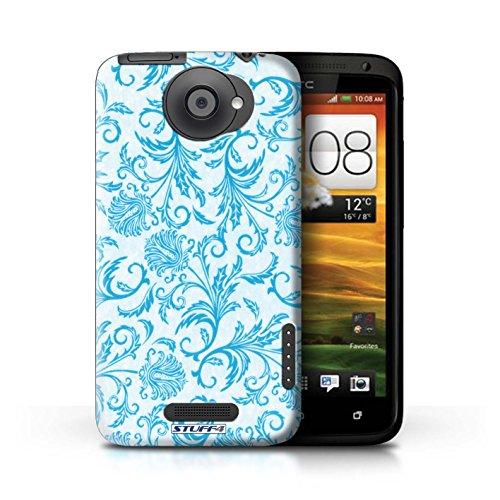 Kobalt® Imprimé Etui / Coque pour HTC One X / Fond Rouge conception / Série Fleurs Fleurs Bleues
