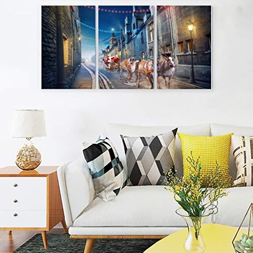 Wujin Leinwandbild, Motiv Elch und Weihnachtsmann, abstrakte Wanddekoration - Weihnachtsbilder auf Leinwand, für Büro, weiß, 12x16
