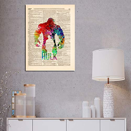 YuanMinglu Wörterbuch Kunstdruck ölgemälde leinwand Kunst Hero Comic Geschenk Bild Poster büro Schlafzimmer Dekoration rahmenlose malerei 48x60 cm