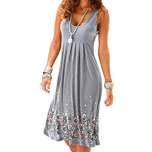 Janly® Sundress, Boho Sleeveless Beach Dress for Woman's Summer Shirts Short Dresses Plus Size