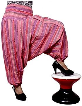 Algodón a Rayas Genie harén pantalones Beggy Gypsy pantalones Yoga tamaño libre