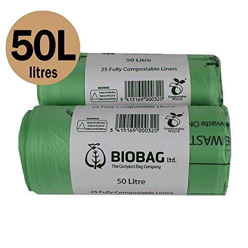 Biobag Biologisch abbaubare Müllbeutel für den Kücheneimer, 50Beutel zu 50 l, Beutel für denBiomüll,EN 13432, Biobeutel 50 l mit Kompostieranleitung (Caddy Tasche Mülleimer)