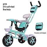 TH Kinder Dreirad Kinderfahrrad Dreirad Handwagen Tretautos, 3-in-1-Fahrrad, 75x55x90cm, 1-6 Jahre Alt,E1