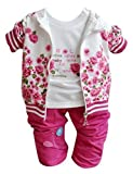 Chinatera Bébé Fille Sweat-shirt en 3 PCS Veste + T-Shirt Manches Longues + Pantalon (90 (12-24mois), Rose)