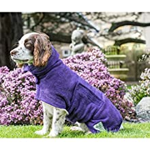 Dog Drying Coat Robe Towel, Dog Bathrobe, Absorb Moisture and Dry Pet Quickly, Puppy towelling Bathing Accessories, Adjustable Collar and Waist, Dog 43cm Back Length for Puppy Small Dog