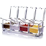 RiWEXA Crystal Seasoning Acrylic Box Pepper Salt Spice Rack Plastic 4 Box With Spoons Kitchen See Through Storage Containers Cooking Tools