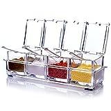 Küche transparent Acryl Würze Box Vier in One Spice Dosen mit Löffeln und Abdeckungen