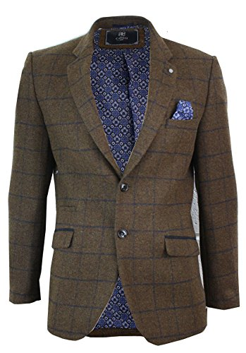 Cavani Herrensakko Vintage Fischgräte Tweed Design Blau Formell Lässig Tailored Fit -