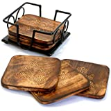 Stonkraft Fancy Mango Wooden Tea Coffee Coasters/ Coaster Set/ Coasters Set With Wrought Iron Holder