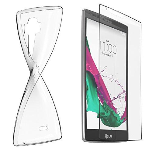 LG G4 S Silikonhülle & Panzerglas (9H) Schutz Set I von EAZY CASE I, Displayschutzglas, Panzerglas, Schutzhülle ultra dünn, TPU/Silikon Hülle, Backcover, transparent/kristallklar