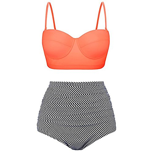 s, Sommer Damen Hohe Taille Bademode Badeanzug weibliche Retro Beachwear Sets Badehose(Orange,EU-46/CN-XL) ()