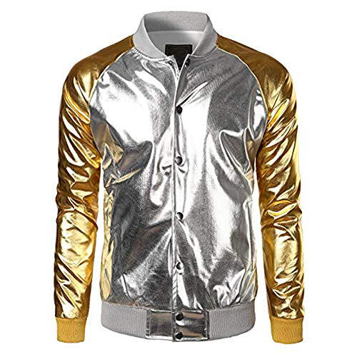 City Star Kostüm Wars Party - Igemy Mode Mantel Männer Metallic Nachtclub Stile Zip Up Varsity Baseball Bomberjacke