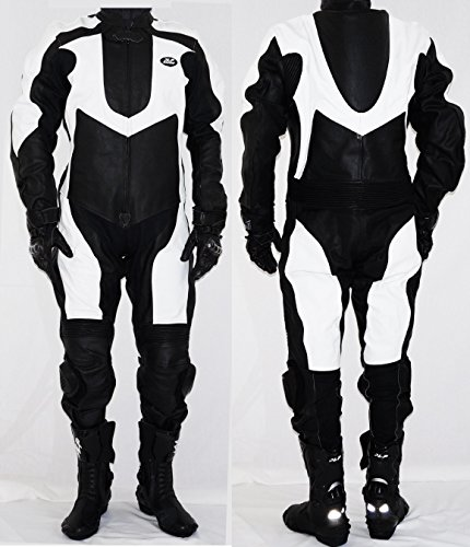 JLP Racing Mono de piel para motorista, color negro y blanco, talla L