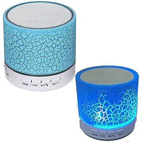 Bluetooth Drahtloser beweglicher Minilautsprecher mit Mikrofon. Indoor Outdoor LED leuchtet. Blau (Kreative Ipod Speaker)