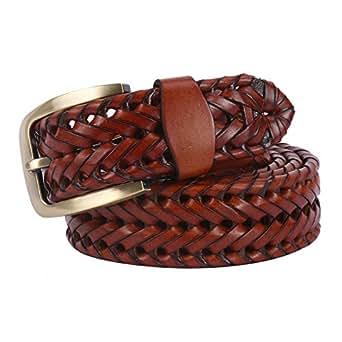 JasGood, cintura con fibbia classica da uomo di tendenza, vintage, traforata, intrecciata, casual Brown 43.5in
