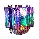 Ventola di raffreddamento della CPU Dissipatori CPU 6 tubi di calore Singoli ventilatori LED colorati 120mm, Intel LAG1156 / 1155/1150/775, presa AMD FM1 / AM3 + / AM3 / AM2 + / AM2 compatibile (Led R