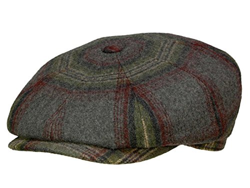 Bailey Rickett Newsboy Cap aus Wolle - grey plaid S/54-55 (Newsboy Bailey)