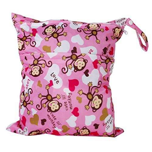 2-zip-washable-baby-cloth-diaper-nappy-bag-monkey-heart-pink