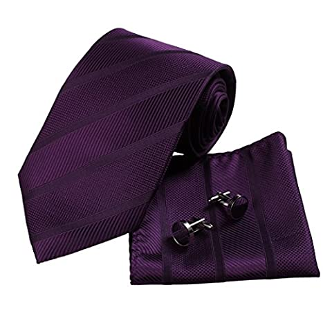 H5049 Purple Striped Handmade Fine Certificate Goods Silk Tie Cufflinks Hanky Set 3PT By Y&G