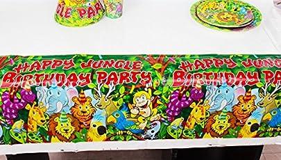 Premium Quality Jungle theme Table Covers / Jungle Happy Birthday Party Supplies / Happy Birthday Party Decoration / Jungle Birthday Party Table Cloth / Table Covers for Dining Table / Table Cover for Kids Birthday