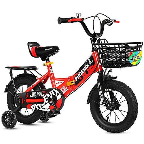 Faltbares Kinderfahrrad, Laufräder und Korb für Jungen und Mädchen 12 & 14 & 16 & 18 & Zoll, kohlenstoffhaltiges Stahlfahrrad, 2-10 Jahre alte Kinderfahrräder, Schwarz und Rot (Size : 16\'\')