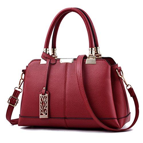 Faux-leder-schulter-handtasche (Frauen Vintage Faux Leder Handtasche Tote Bag Crossbody Schulter Messenger Bags (Weinrot))