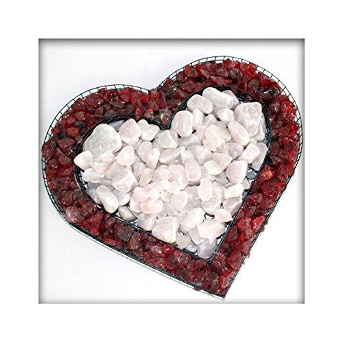 Bellissa Herz Gitter Pflanzschale Grabschmuck Grabgestaltung mit rotem Glassplitt und Rosenquarz
