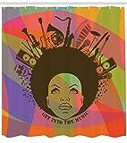 ABAKUHAUS Música Cortina de Baño, Ilustración de Jóven Mujer Afroamericana Retrato con Instrumentos Musicales Estampa, Material Resistente al Agua Durable Estampa Digital, 175 X 200 cm