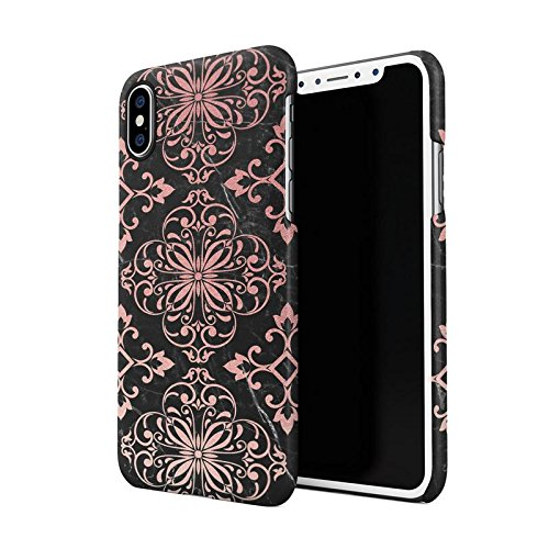 Rose Gold Moroccan Ornaments On Black Marble Dünne Rückschale aus Hartplastik für iPhone X, iPhone XS Handy Hülle Schutzhülle Slim Fit Case Cover