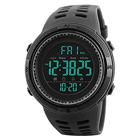Randon Men's Military Waterproof Electronic Sport Watch Rubber Band 24H Time Back Light Water Resistant Calendar Date Day Watches