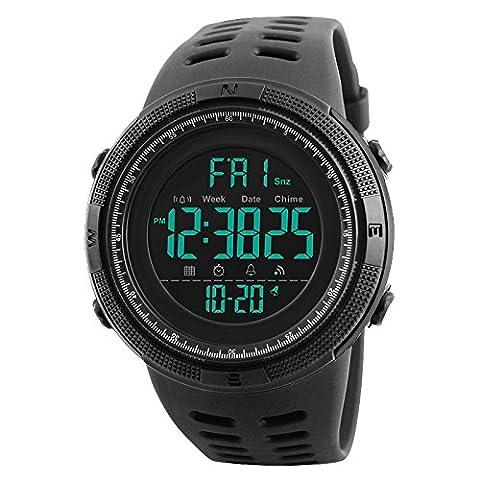 Wasserdichte elektronische Randon-Herren Army- Sport-Armbanduhr mit Gummi Band und 24h -LED-Licht, Wasserbeständig Kalender Datum Tag Uhren schwarz