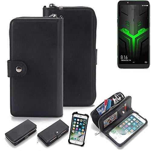 K-S-Trade 2in1 Handyhülle für Xiaomi Blackshark Helo Schutzhülle & Portemonnee Schutzhülle Tasche Handytasche Case Etui Geldbörse Wallet Bookstyle Hülle schwarz (1x)