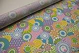 Pinidi Stoff/Meterware/ab 25cm/Beschichtete Baumwolle (Tante Ema) Kreise Blumen rosa, gelb, blau