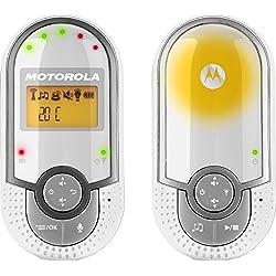 """Motorola MBP 16 - Vigilabebés audio con pantalla de 1.5"""", modo eco y luz nocturna, color blanco"""