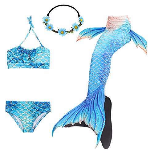 COZY HUT 2019 Meerjungfrauenschwanz Bikini Set für Mädchen Zum Schwimmen mit Meerjungfrau Flosse Badeanzüge Prinzessin Cosplay Kostüm (Die Besten Kostüme Für Jungen 2019)