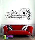 Wandtattoo Uhr mit Uhrwerk Wanduhr für Wohnzimmer Spruch Zeit die wir uns nehmen (Uhr Schwarz//070 schwarz)